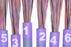 Stripped network cables, transmission of data in telecommunications systems Stock Photos