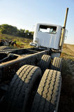 Stripped Semi-Truck. From Behind Royalty Free Stock Photos