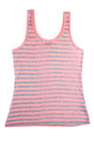 Stripped sleeveless shirt. Front view of red stripped sleeveless shirt isolated on white background Royalty Free Stock Images