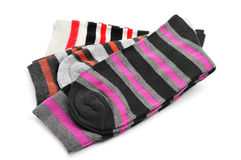 Stripped socks with different colors Royalty Free Stock Photo