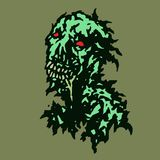 Stripped zombie with saliva flowing from his mouth. Vector illustration. Royalty Free Stock Image