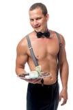 Stripper με μια άκρη σε έναν δίσκο που απομονώνεται Στοκ Φωτογραφίες