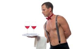 Stripper με τα ποτήρια του κρασιού Στοκ Εικόνες