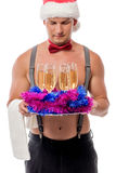 Stripper and champagne for New Year& x27;s  party Royalty Free Stock Image