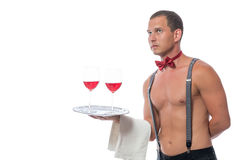 Stripper gives a red wine on a tray. Sexy stripper gives a red wine on a tray Stock Image