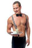 Stripper with a tip on a tray isolated. On white background Stock Photos