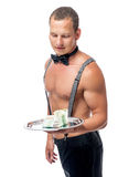 Stripper and tips. Stripper looks at his big tip isolated Stock Images