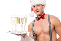 Stripper waiter with champagne Royalty Free Stock Images