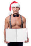 Strippers waiter offers menus for adult women Stock Photo