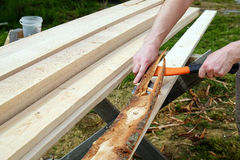 Stripping planks from the bark Stock Photography