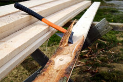 Stripping planks from the bark Stock Images