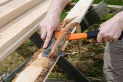 Stripping planks from the bark Royalty Free Stock Photo