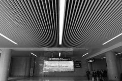 Strips ceiling of the new railway station hall black and white image Royalty Free Stock Photos