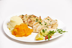 Strips of chicken grille Stock Images