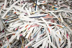 Strips of colored paper. A closely-photographed pile of cut strips of polygraph paper Stock Photo