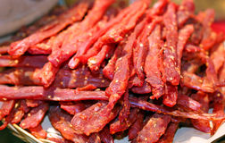 Strips of flesh very spicy called coppiette typical culinary Royalty Free Stock Photos