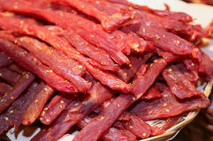 Strips of flesh very spicy called coppiette typical italian spec Stock Photography