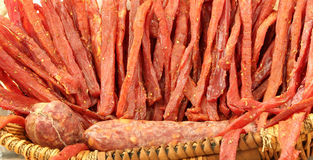 strips of meat seasoned with salt and natural spices and matured Stock Photos