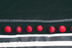 Strips and raspberry on the texture of the fabric stock images