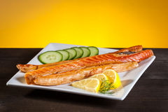 Strips of smoked salmon Royalty Free Stock Photography