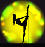 Striptease girl silhouette Stock Image