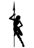 Striptease silhouette of warrior woman. Warrior girl is dancing striptease near the spear. Available in vector EPS format Royalty Free Stock Photo