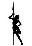 Stripteasenummerkontur av krigarekvinnan stock illustrationer