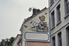 Stripverhaalmuurschildering het schilderen in Brussel, België Royalty-vrije Stock Afbeeldingen