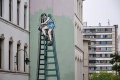 Stripverhaalmuurschildering het schilderen in Brussel, België Stock Afbeeldingen