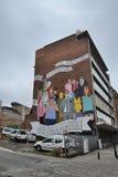 Stripverhaalmuurschildering het schilderen in Brussel, België Royalty-vrije Stock Foto's