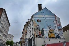 Stripverhaalmuurschildering het schilderen in Brussel, België Royalty-vrije Stock Fotografie