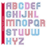 Stripy acute-angled contemporary poster uppercase letters, lined Stock Photo