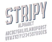 Stripy alphabet witn numbers, dollar and euro currency signs, exclamation and question marks.  royalty free illustration
