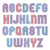 Stripy bright geometric script, stylish typeface Stock Images