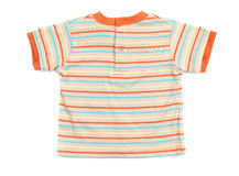 Stripy childrens T-shirt. Baby boy stripy colorful T-shirt isolated on white background royalty free stock images