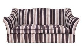 Stripy cloth sofa isolated on white background. Luxury stripy fabric sofa isolated on white background stock photography