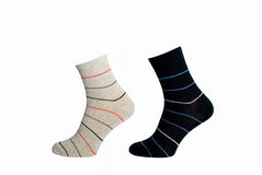 Stripy cotton socks. Two pairs of stripy cotton socks isolated on white background royalty free stock images