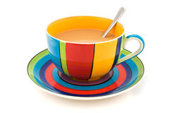 Stripy cup and saucer isolated on white Royalty Free Stock Photography