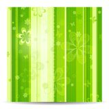 Stripy floral green spring background. Stripes of various shades of green overlaid with dots, flowers, butterflies and patterns. Great for floral and spring Stock Photos