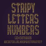 Stripy golden letters, numbers, dollar and euro currency signs, exclamation and question marks.  vector illustration