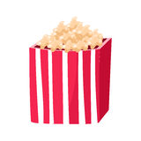 Stripy Paper Bucket With Popcorn Snack, Cinema And Movie Theatre Related Object Cartoon Colorful Vector Illustration. Isolated Object Cinematography stock illustration