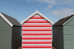 Stripy red beach hut stock photo