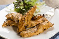 Strisce arrostite del pollo con insalata laterale Fotografia Stock Libera da Diritti