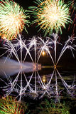 Strisce dei fuochi d'artificio blu Immagine Stock