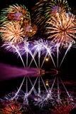 Strisce dei fuochi d'artificio blu Fotografia Stock