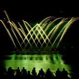 Strisce dei fuochi d'artificio dorati Fotografia Stock Libera da Diritti