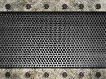 Strisce dell'acciaio incorniciate griglia del metallo con i bulloni Fotografia Stock Libera da Diritti