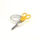 Strisce dell'elastico per il panno con le forbici Immagini Stock