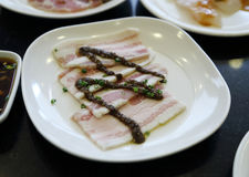 Strisce di bacon fresche Fotografia Stock
