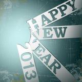 Strisce di carta di nuovo anno felice con le ombre su grunge Fotografie Stock Libere da Diritti